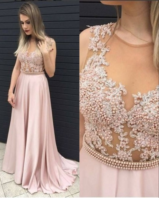 Pink Prom Dresses Long Beaded Satin Floor Length Evening Wear Prom Dresses