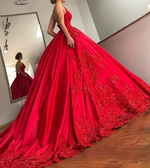 Designer Brautkleider Rot Satin Prinzessin Appliaktionen Brautmoden Hochzeitskledier