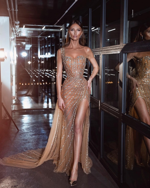 Luxus Abendkleid Lang | Perlen Abiballkleider Abendmoden Online