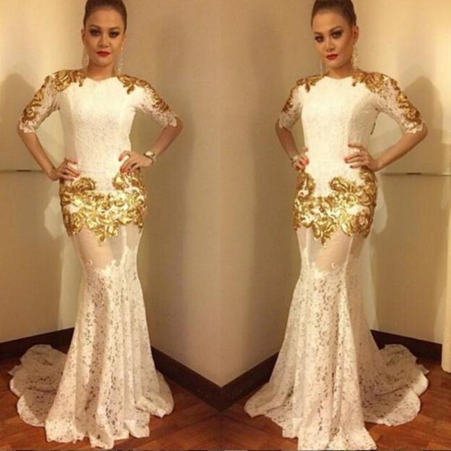 Elegante Weiße Abendkleider Lang Günstig Spitzekleid