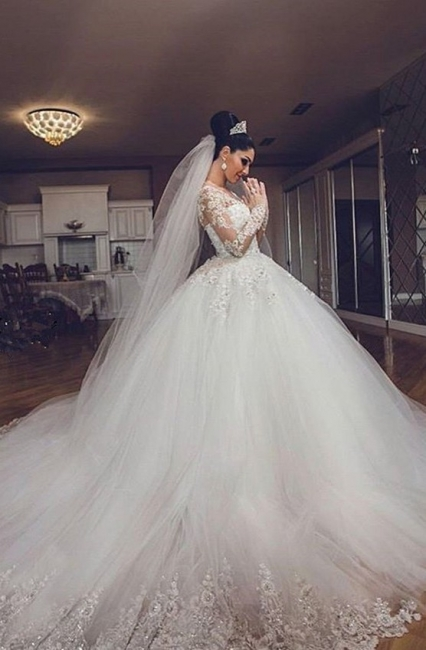 Ball Gown White Wedding Dresses Lace Long Sleeves Tulle Wedding Dresses Bridal