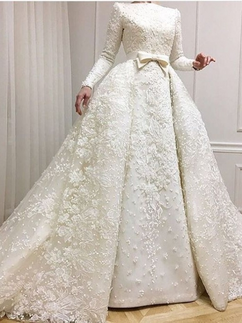Fashion white wedding dresses with long sleeves a line bridal gowns lace cheap online