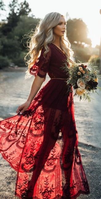 Modern Weinrot Brautkleider Lang Ärmel Spitze Brautmoden Hochzeitskleider