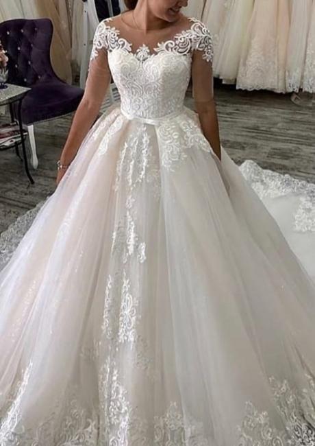Elegante Hochzeitskleider Mit Ärmel | A Linie Brautkleider mit Spitze
