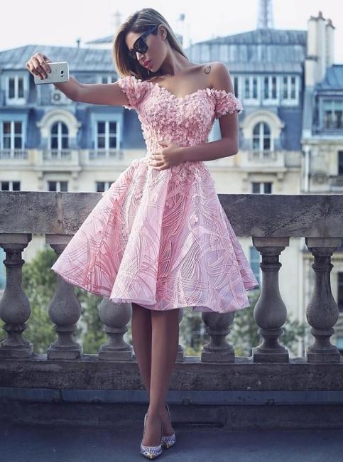 Fashion Rosa Cocktailkleider Kurz Günstig A linie Abendmoden Abiballkleider
