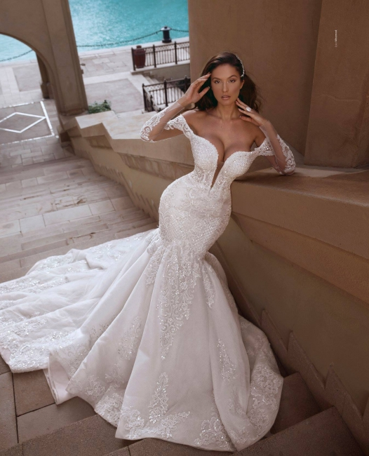 Elegante Brautkleid Mit Ärmel | Hochzeitskleider Meerjungfrau Online