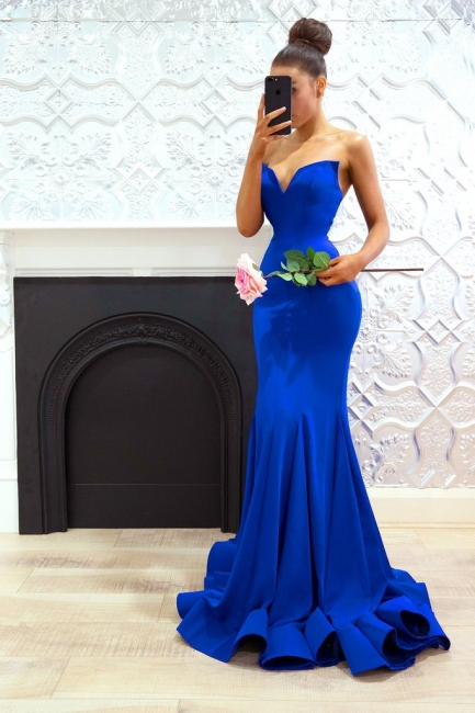 Plain Royal Blue Evening Dresses Long Cheap Satin Evening Dresses Prom Dresses Online