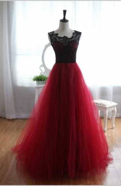 Black Red Evening Dress Long Cheap Lace Tulle Prom Dresses Party Dresses