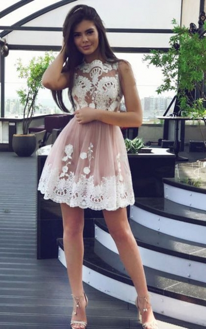 Pink Cocktail Dresses Short Cheap With Lace A Line Tulle Prom Dresses Online