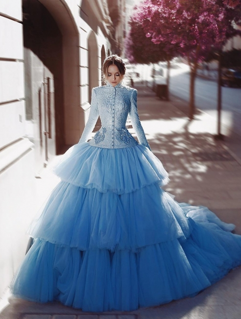 Vintage Wedding Dresses Bright Blue Wedding Dresses Lace With Sleeves