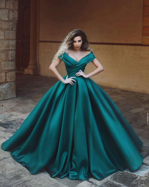 Beautiful dark green evening dresses long cheap prom dresses online
