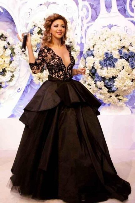 Black Evening Dresses Prom Dresses With Lace Sleeves Organza Paryt Dresses