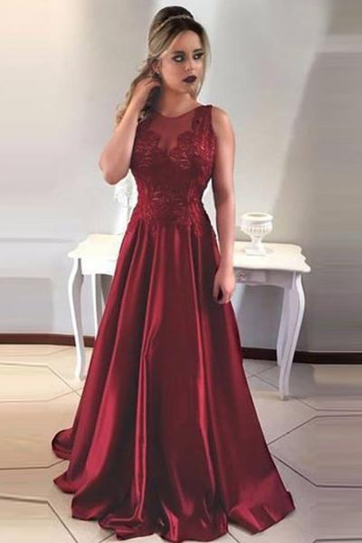 Wine Red Evening Dresses Long Cheap With Lace A Line Satin Prom Dresses Online