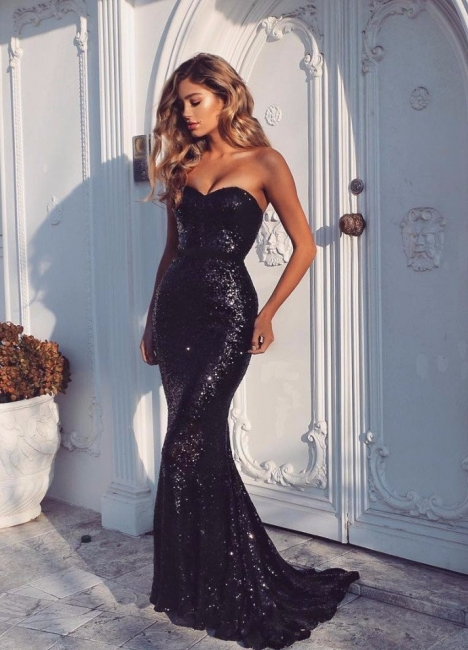 Black Evening Dresses Sequins Mermaid Floor Length Prom Dresses Party Dresses