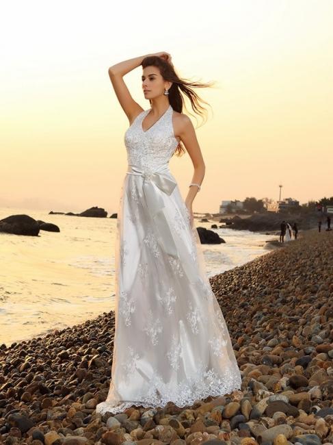 schlicht Weiße Hochzeitskleider Spitze Etuikleider Bodenlang Brautkleider Online