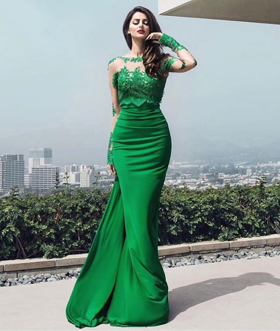 Fashion green evening dresses long cheap lace prom dresses with sleeves