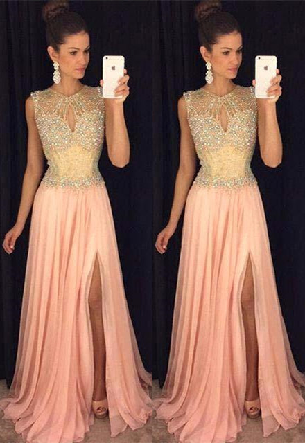 Rosa Abendkleider Lang Günstig Chiffon Kristal Abendmoden Abiballkleider