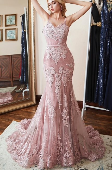 Pink Evening Dresses Long Lace | Evening wear cheap online