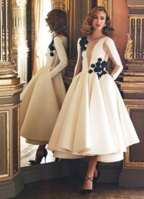 white evening dresses long sleeves a line satin evening wear prom dresses