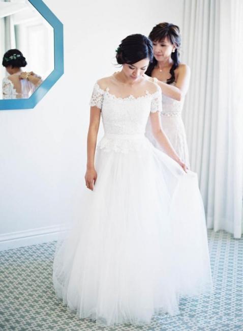 Weiß Brautkleider Mit Ärmel Tüll Etuikleider Hochzeitskleider