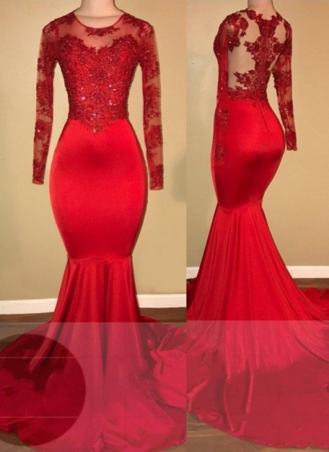 Elegant Evening Dress Red Long Cheap Lace Mermaid Prom Dresses With Sleeves