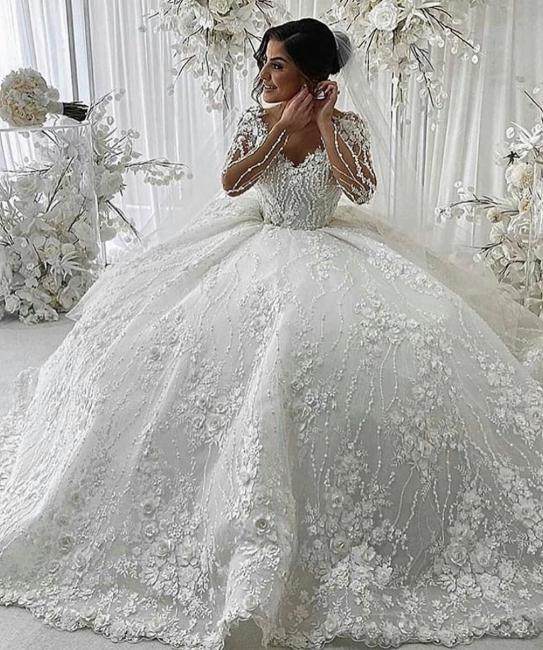Luxus Hochzeitskleider mit Spitze | Brautkleider Prinzessin mit Ärmel
