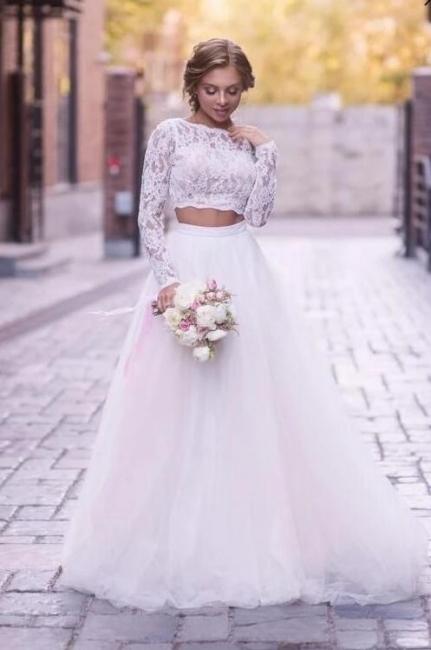 2 Teilig Brautkleider A Linie | Hochzeitskleider Mit Spitze
