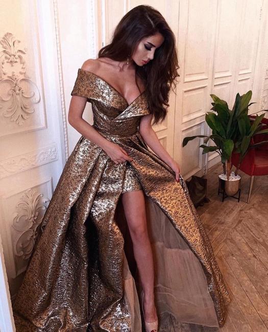 Modern Abendkleider Gold | Abendmoden Abiballkleider Lang Günstig