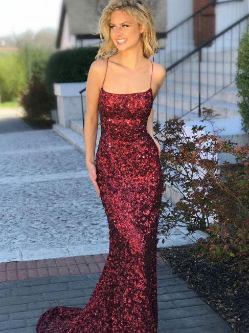Elegant evening dresses wine red | Long prom dresses with glitter