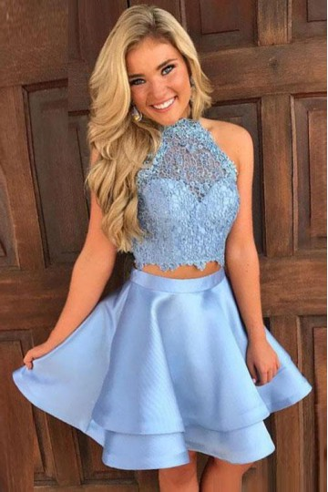 Cheap Cocktail Dress Short A Line Blue Prom Dresses Online