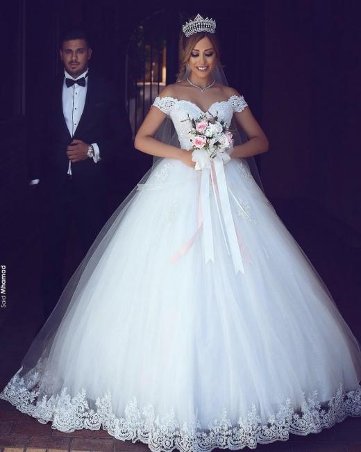 Romantisch Weiß Brautkleider Mit Spitze Schulterfrei Prinzessin Tüll Brautmoden Hochzeitskleider