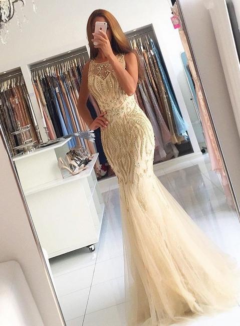 Luxurious Evening Dresses Long Yellow Beaded Mermaid Evening Wear Prom Dresses Cheap