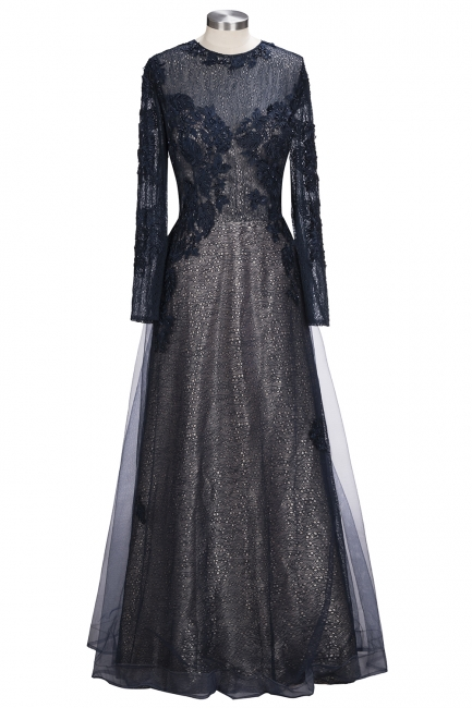 Designer blue evening dresses long with lace sheath dress prom dresses with sleeves