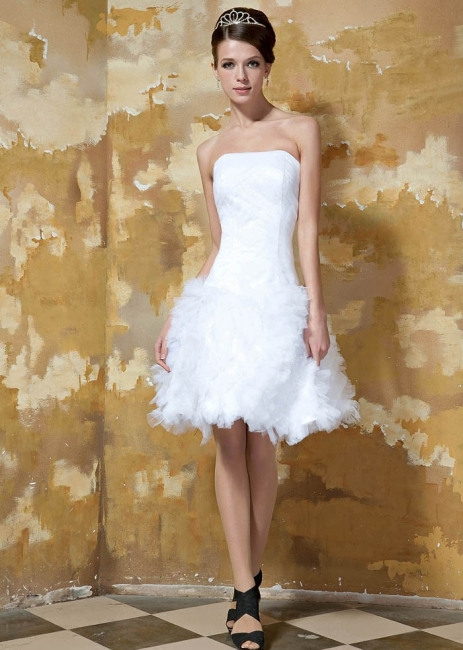 Schlichte Brautkleider Kurz Weiß Tüll Knielang Hochzeitskleider Brautmoden Günstig