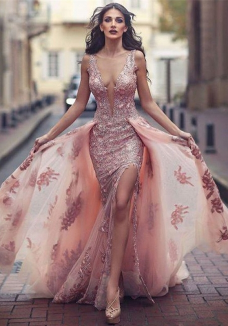 Elegant Pink Evening Dresses Lace Straps Tulle Evening Wear Prom Dresses Cheap