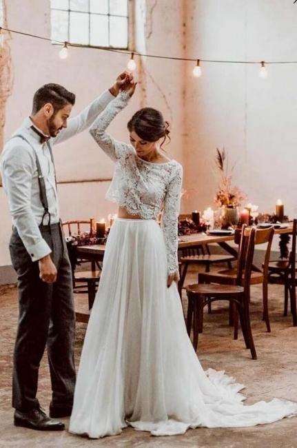 Brautkleider Spitzeärmel A linie | Hochzeitsmoden 2 Teille Online
