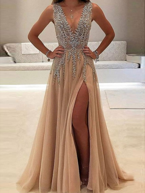 Champagne Evening Dresses Long Cheap V Neck Tulle Evening Wear Prom Dresses