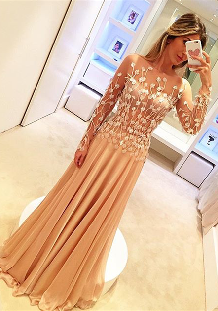 Champagne Prom Dresses Long Sleeves With Lace Tulle Evening Dresses