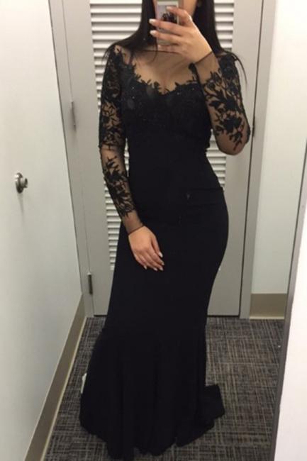 Schlichtes Schwarzes Abendkleid Lang Ärmel| Sexy Abendkleider Mit Spitze