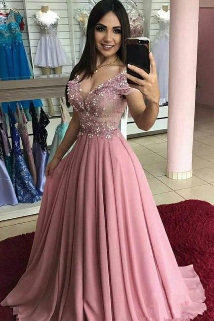Abendkleider Lang Rosa Mit Spitze | Chiffon Abiballkleider Online