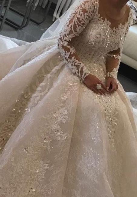Modern Brautkleider mit Ärmel | Spitze Hochzeitskleider Prinzessin