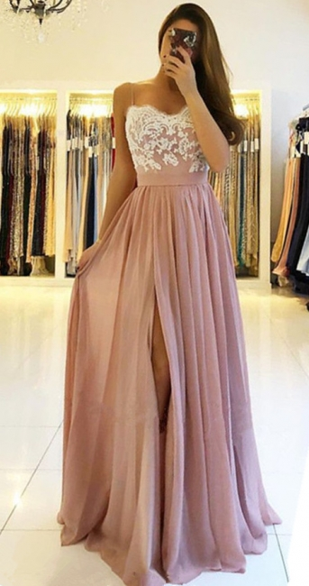 Elegant Chiffon Dresses Evening Dresses Long Cheap Lace Evening Wear