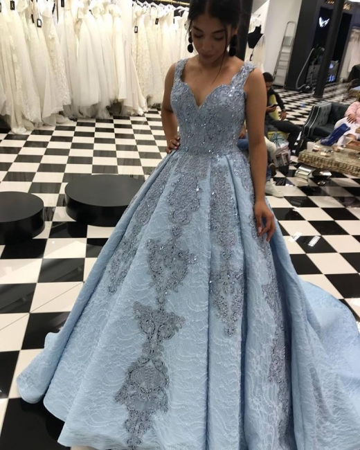 Elegant blue evening dress lace evening dresses long sale at low prices