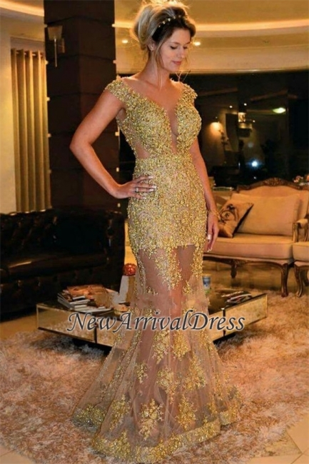 Fashion Dresses Evening Dresses Lace Long Mermaid Golden Dance Ball Dresses Long