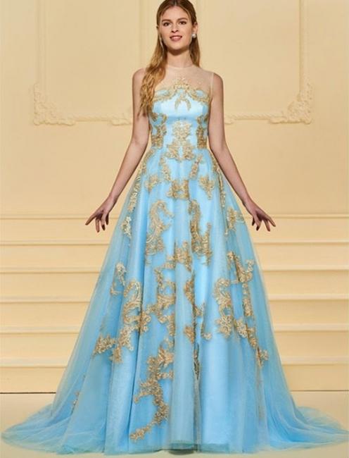 Elegant Floor Length Evening Dresses Blue With Lace A Line Evening Wear Online