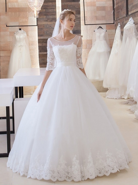 White Wedding Dresses With Sleeves Lace A line Bridal Bridal Gowns