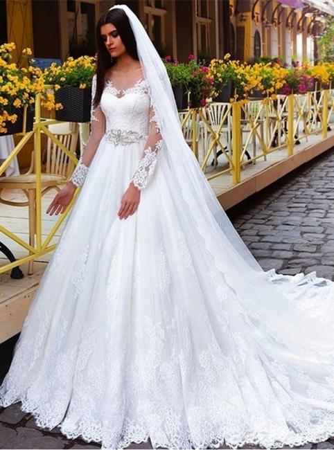 A Linie Weiß Brautkleider Lang Ärmel Spitze Brautmoden Hochzeitskleider