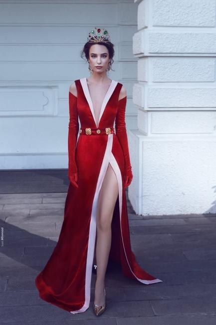 Elegant Rote Lange Abendkleider Velvet V Ausschnitt Meerjungfrau Abiballkleider Online Kaufen