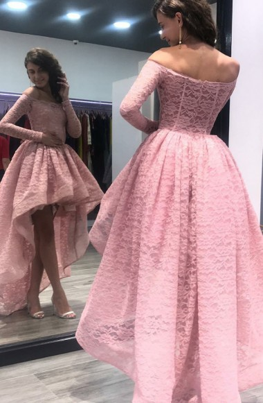Simple Pink Cocktail Dresses Front Short Behind Long Lace Evening Dresses With Sleeves