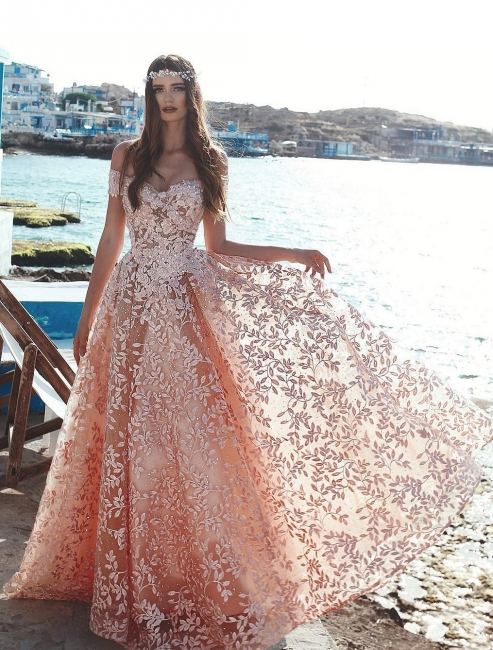 Cheap Lace Evening Dresses Long Dress Coral